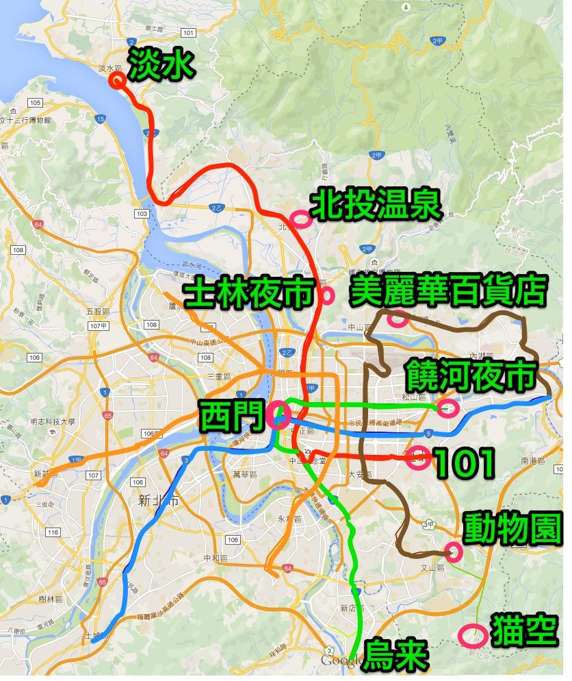 郊外MRT観光マップ