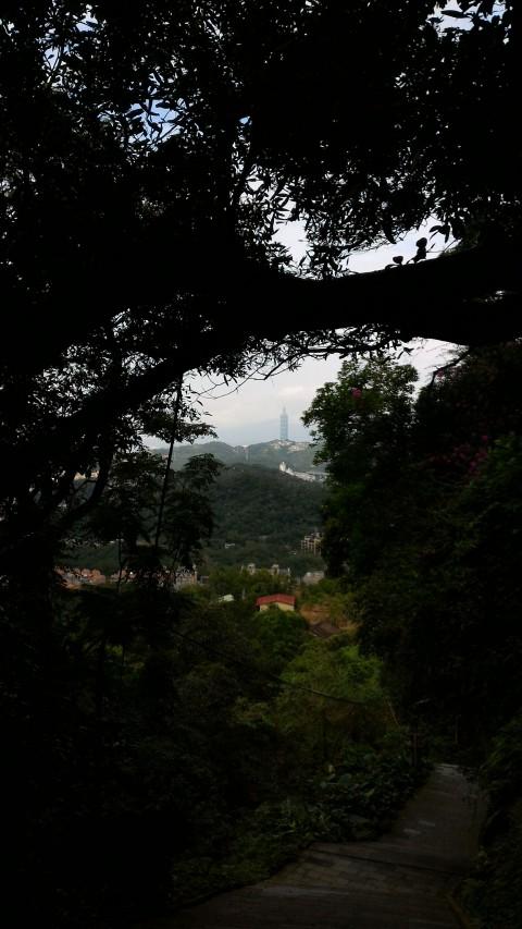 純陽寶殿から降る階段途中に見る台北101