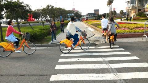 漁人碼頭でレンタサイクル