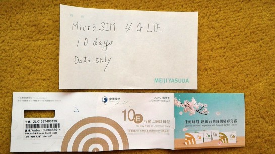 sim購入時のメモとsimの台紙