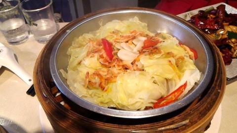 濟南鮮湯包桜花蝦蒸高麗菜