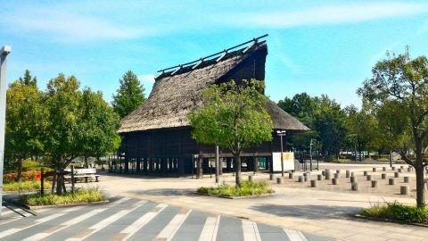 大阪市歴史博物館ガラス越しの法円坂遺跡