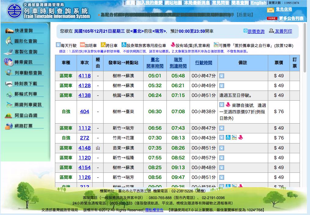 出発駅と到着駅を選択し「査詢」ボタンを押すと時刻表が出ます