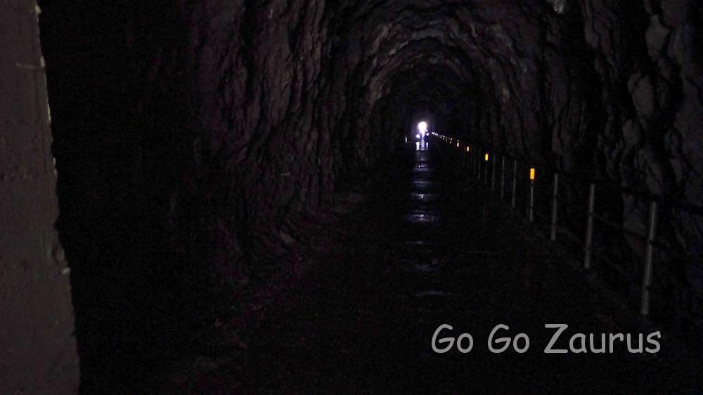 白楊步道スタートのトンネル 実際はもっと真っ暗