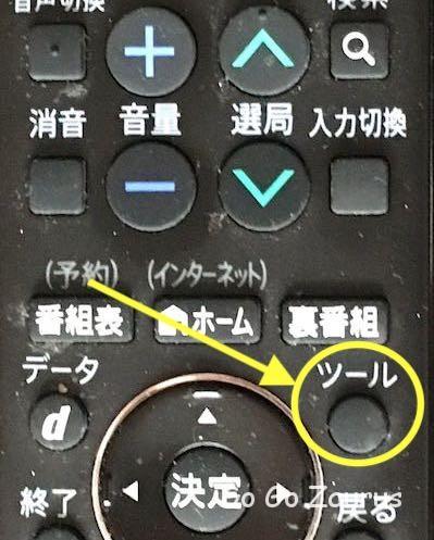 テレビリモコンのツールボタン