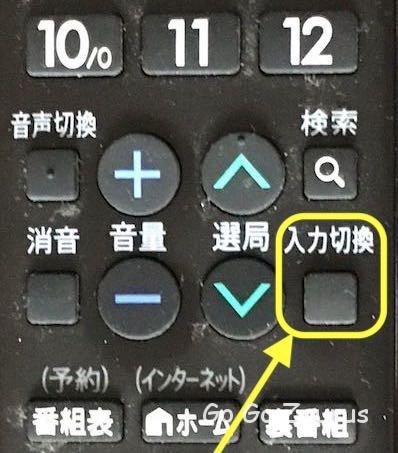 テレビリモコンの入力切替ボタン