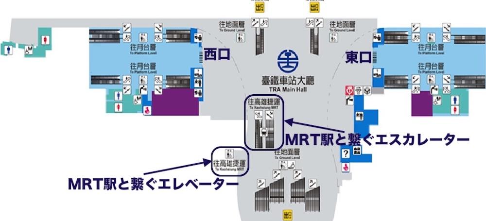 高雄駅B1平面図